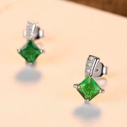 CZCITY marka śliczne zielony plac cyrkonia kryształ srebrny kolczyki Lady małe stadniny szmaragdowe kolczyki dla kobiet w porząd