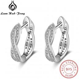 Klasyczna prawdziwa 925 Sterling srebrne kolczyki koła cyrkonia skręcone kolczyki dla kobiet srebro 925 Fine Jewelry (Lam Hub Fo