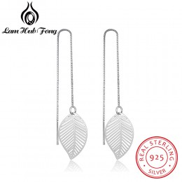 Hot prawdziwe 925 Sterling Silver Leaf kolczyki dla kobiet dziewczyn długi wiszący łańcuszek spadek kolczyk marka Wedding Party