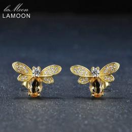 LAMOON pszczoła 6x4mm 100% naturalne cytryn 925 sterling silver-srebro-biżuteria 14 K żółte złoto platerowane stadniny kolczyki