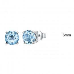 Elegancka biżuteria damska srebrne kolczyki z cyrkoniami z diamencikami niebieskie w ucho modne efektowne