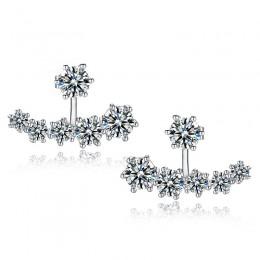 Jemmin nowa moda 925 Sterling Silver błyszczące kryształowe koraliki z pałąkiem na kark stadniny kolczyki dla kobiet ślub Bijoux