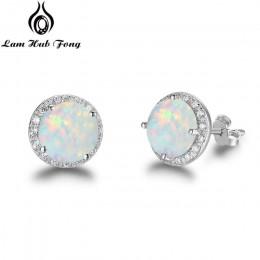 Klasyczne 925 kolczyki sztyfty ze srebra wysokiej próby okrągły biały różowy niebieski kolczyki z opalami z cyrkoniami biżuteria