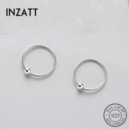 INZATT minimalistyczny geometryczny okrągły koralik kolczyki Hoop 2018 trzy rozmiary dla kobiet urodziny prawdziwe 925 srebro bi