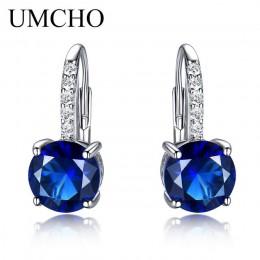UMCHO 100% prawdziwe srebro 925 biżuteria okrągły utworzono Nano Sapphire klipsy dla kobiet Party moda prezent Charms Fine Jewel