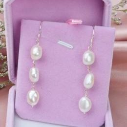 ASHIQI naturalne długi barokowy Pearl kolczyki dla kobiet 8-9mm biały szary Handmade 925 srebro biżuteria Party prezent