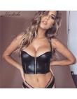 Macheda czarny PU skórzany zamek Camis Top 2019 kobiet szczupła przycięte Top moda bez rękawów Party Sexy Camisole New Arrival