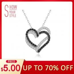 [Czarny AWN] Fine oryginalne 100% 925 srebro naszyjnik kobiety biżuteria serce czarny i biały kamień wisiorki P107