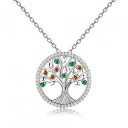 Nowy projekt 2018 ślub naszyjniki wisiorki dla kobiet 925 biżuteria srebrna naszyjnik z kolorowy kamień szlachetny gorąca sprzed