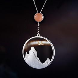 Lotus zabawy majątek 925 Sterling Silver naturalne kamień szlachetny biżuteria kreatywny powrotem ptaka w zachód słońca wisiorek