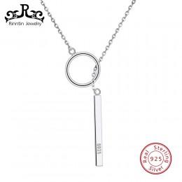 Rinntin prawdziwe 925 Sterling Silver naszyjniki dla kobiet Trendy koło i srebrna belka projekt naszyjnik wisiorki damska biżute