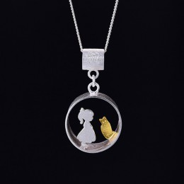Lotus zabawy majątek 925 srebrny kreatywny ręcznie robiona biżuteria spotkanie miłość z kot wisiorek bez naszyjnik dla kobiet