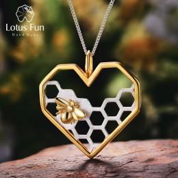 Lotus zabawy majątek 925 Sterling Silver ręcznie robiona biżuteria o strukturze plastra miodu do domu strażnik miłość wisiorek w