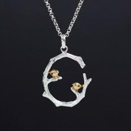 Lotus zabawy majątek 925 Sterling Silver naturalne oryginalne ręcznie grzywny biżuteria ptak na gałęzi wisiorek bez naszyjnik dl