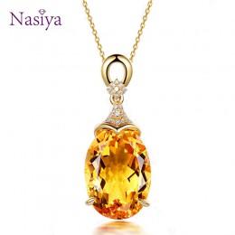 Srebro 925 Wisiorek naszyjnik dla kobiet żółty cytryn łańcuszek cyrkonie złoty