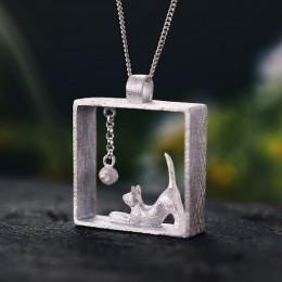 Lotus zabawy majątek 925 Sterling Silver ręcznie projektant biżuterii moda kot gra kulki wisiorek bez naszyjnik dla kobiet