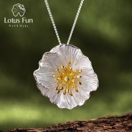 Lotus zabawy majątek 925 Sterling Silver ręcznie robiona biżuteria kwitnących maki kwiat wisiorek bez naszyjnik dla kobiet