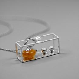 Lotus zabawy majątek 925 Sterling Silver ręcznie robiona biżuteria naturalny bursztyn oryginalny czajnik projekt wisiorek bez na