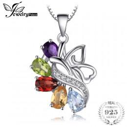 JewelryPalace Butterfly 2.4ct prawdziwy ametyst granat Peridot cytryn niebieski Topaz wisiorek 925 Sterling Silver bez łańcucha