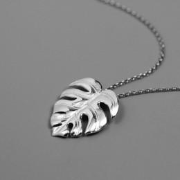 Lotus zabawy majątek 925 Sterling Silver ręcznie grzywny biżuteria kreatywny liście Monstera projekt wisiorek bez naszyjnik dla