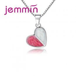 """Jemmin wyższej jakości piękny różowy serce wisiorek + 18 """"925 Sterling Silver naszyjnik łańcuch dla kobiet dziewczyn prezenty dl"""