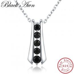 [Czarny AWN] Trendy 925 Sterling srebrny naszyjnik dla kobiet czarny kręgosłupa kobiet Bijoux dziewczyny prezent Sterling Silver