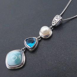 Naturalne Larimar 925 srebro antyczne projekt niebieski Topaz prawdziwy kamień perła urok wisiorek dla kobiet prezent bez łańcuc