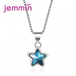 JEMMIN wykwintne niebieski gwiazda kryształ wisiorek 925 Sterling srebrny naszyjnik dla kobiet dziewczyn osobowość Party biżuter