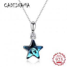 CADEINAMA 100% 925 Sterling srebrny wisiorek naszyjnik gwiazda austriackie kryształowe Charms Choker naszyjnik kobiety biżuteria
