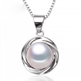 Prawdziwe perły wisiorki 925 sterling silver Pearl słodkowodne wisiorek dla kobiet, wisior z naturalną perłą naszyjnik biały pre