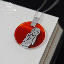 Lotus zabawy majątek 925 Sterling Silver naturalne agat ręcznie robiona biżuteria krzyk malarstwo wisiorek bez naszyjnik dla kob