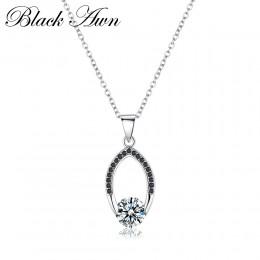 Czarny AWN srebrny naszyjnik 100% oryginalna 925 Sterling Silver 100% Slide biżuteria naszyjnik kobiety Bijoux Femme naszyjniki