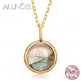 ALLNOEL prawdziwe labrador wisiorki naszyjnik dla kobiet stałe 925 Sterling Silver okrągły klejnot biżuteria pierścionek zaręczy