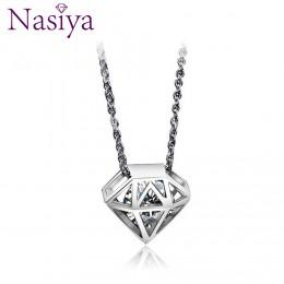 Czystego srebra 925 naszyjnik dla kobiet w porządku biżuteria cyrkon CZ wisiorek z dziurkami koreański styl prezenty walentynkow