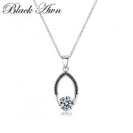 [Czarny AWN] oryginalne 100% 925 Sterling Silver biżuteria naszyjnik dla kobiet kobieta Bijoux naszyjniki wisiorki P086