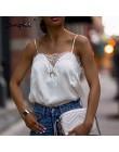Simplee Streetwear satynowy koronki splice camis top kobiety Sexy v neck przejrzyste góry 2019 jesień zima kobiet przycięte tank