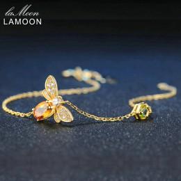 LAMOON Bee 5X7mm 100% naturalny owalny cytryn 925 Sterling Silver biżuteria złoty kolor łańcuch Charm bransoletka s925 LMHI002