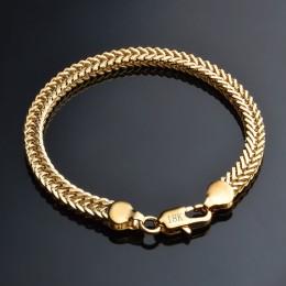 Jemmin klasyczne błyszczące 18 k złoty wąż łańcuch bransoletka mężczyzna damska biżuteria na codzienny Party podróży najlepsze p
