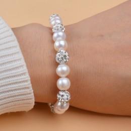 ASHIQI oryginalne naturalna perła słodkowodna bransoletki bransoletki dla kobiet z glinki cyrkon piłka elastyczność biżuteria pr