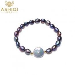 ASHIQI prawdziwej skóry czarne naturalna perła słodkowodna bransoletki dla kobiet 12-13mm duży przycisk perła baroku biżuteria