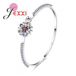 JEMMIN wspaniały modny prezent dla kochanka siostra Romintic bransoletki 925 Sterling Silver kwiat kształt kolorowe cyrkonia pop