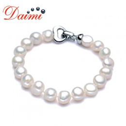 DAIMI Trendy barokowa perła bransoletka naturalne białe słodkowodne perły biały kolor, prezent dla kobiet