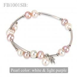 CLUCI białe słodkowodne bransoletki z pereł dla kobiet 6-7mm zroszony urok bransoletka Femme biżuteria srebrny bransoletki z per