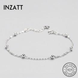 INZATT prawdziwe 925 Sterling srebrna podkładka dystansowa korale bransoletka minimalistyczny grzywny biżuteria dla kobiet urodz