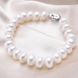 Wysokiej jakości naturalna perła słodkowodna bransoletki dla kobiet niesamowita cena 7-8mm/9-10mm perła biżuteria srebrny 925 br