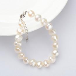 ASHIQI prawdziwe naturalne barokowy bransoletki z pereł dla kobiet 9-10mm białe słodkowodne perły biżuteria prezent