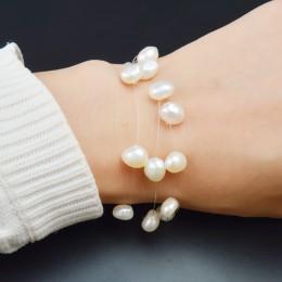 ASHIQI biały naturalne słodkowodne barokowe bransoletki z pereł dla kobiet z 3 rzędy przezroczysta żyłka wędkarska niewidzialny