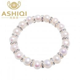 ASHIQI 8-9mm prawdziwa perła słodkowodna bransoletki dla kobiet urok czeski