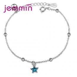 Jemmin nowe atrakcyjne 925 Sterling Silver Super Shining Blue Star kształt projekt wisiorek bransoletki dla kobiet biżuteria hur