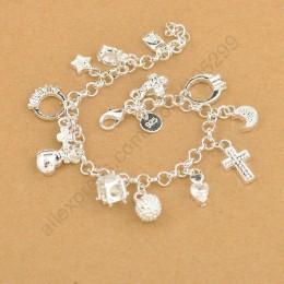 JEMMIN wykwintne najwyższej jakości 925 Sterling Silver uroczy bransoletka zawieszki piękny krzyż księżyc serce zegar biżuteria